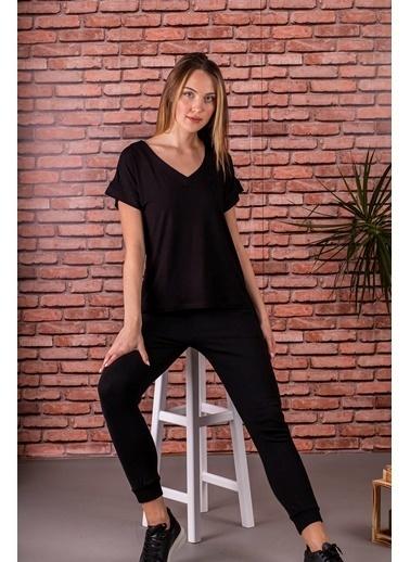 Stamina  Bayan V Yaka Kısa Kol Bluz-5VS12 Siyah